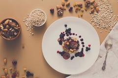 Desayuno sano - gachas de avena de la harina de avena, aún vida Imagenes de archivo