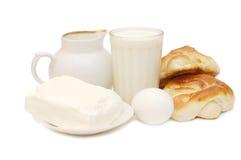 Desayuno sano - leche, huevos, requesón Imagen de archivo libre de regalías