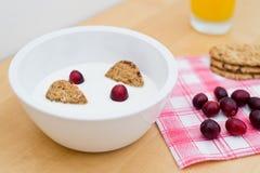 Desayuno sano que contiene el yogur natural, las galletas integrales del cereal y los arándanos frescos Foto de archivo libre de regalías