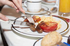 Desayuno típico del hotel imagen de archivo libre de regalías