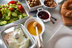 Desayuno turco sano Imágenes de archivo libres de regalías
