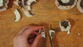 Desbastando cogumelos para cozinhar video estoque