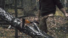 Desbastando a madeira com um machado video estoque