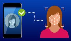 Desbloquear smartphone con la identificación facial biométrica, identificación biométrica, concepto de sistema del reconocimiento libre illustration