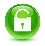 Desbloquee el botón redondo verde vidrioso del icono ilustración del vector