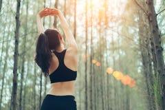 Descanso desportivo da mulher de Ásia para relaxar os músculos na floresta fotos de stock royalty free