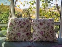 Descanso dois pela janela e pelas árvores, fundo do céu azul Imagem de Stock