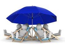 Descanso dos povos sob o parasol. 3D isolado ilustração royalty free