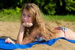 Descanso em uma praia Fotos de Stock