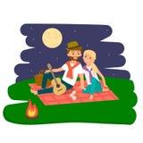Descanso feliz do piquenique da família Pares novos ao ar livre Piquenique da família do verão Ilustração do vetor ilustração royalty free
