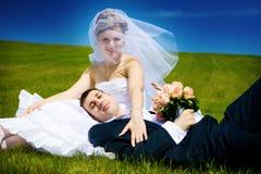 Descanso no dia do casamento Fotografia de Stock