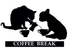Descanso para tomar café con el gato y el perro stock de ilustración