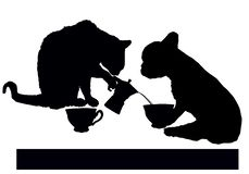 Descanso para tomar café con el gato y el perro libre illustration