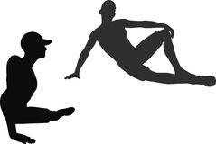 Descanso relajante de la persona que practica surf del hombre ilustración del vector