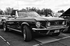 Descapotable de Ford Mustang del coche (blanco y negro) Imagen de archivo libre de regalías
