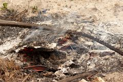 Descarga da fogueira imagens de stock