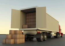 Descarga de las cajas de cartón de un camión Transporte de la carga, ilustración del vector