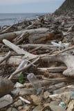 Descarga de lixo no litoral, logs plásticos, secos - um desastre ambiental imagens de stock royalty free