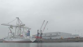 Descarga del buque de carga almacen de metraje de vídeo