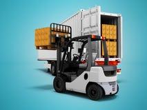 Descargando mercancías del remolque con la carretilla elevadora 3d para rendir en fondo azul con la sombra stock de ilustración