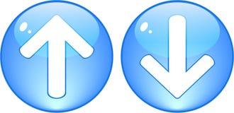 Descargue y cargue por teletratamiento los botones azules Imagen de archivo
