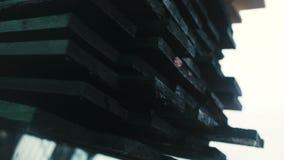 Descarregando logs menores por threes quando os logs maiores estiverem perto Forklift video estoque