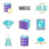 Descarregando os ícones da informação ajustados, estilo dos desenhos animados Imagem de Stock Royalty Free