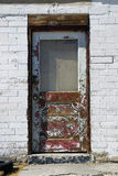 Descascando a porta branca de Grunge Imagem de Stock