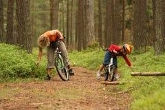 Descendant de mère sur des bicyclettes Image stock