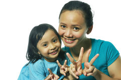 Descendant heureux de mère Image libre de droits