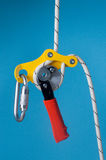 Descender on the rope with carabiner Royalty Free Stock Photography
