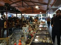 2015 descender visitors examines flea market on placa Catalunia, Royalty Free Stock Photography