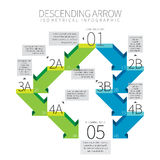 Descending Arrow Infographic. Vector illustration of descending arrow infographic design element Royalty Free Stock Photo