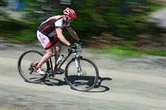 Descending bike rider - motion blur Stock Images
