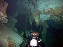 Descending Cave Divers Stock Images