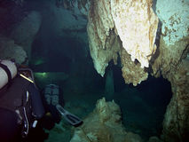 Descending Cavern Divers Royalty Free Stock Photos