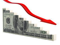 Descending dollar. Render of descending dollar and arrow Stock Photo