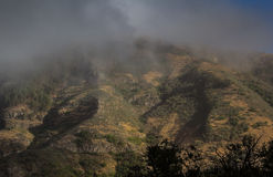 Descending fog in gran Canaria Royalty Free Stock Images