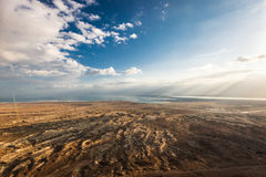 Descending Masada. View of the desert and the dead sea from Masada in Israel stock photos