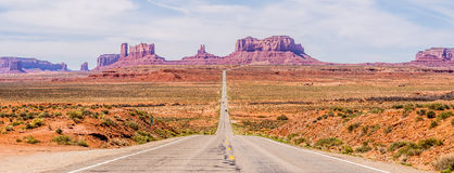 Descending into Monument Valley at Utah  Arizona border Stock Photo