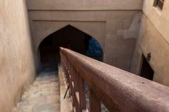 Descending staircase. In desert fort Royalty Free Stock Photos