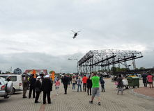 Descends helicopter in Klaipeda town, Lithuania Royalty Free Stock Photography