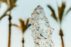 Descenso abstracto de la onda de agua en el movimiento con el fondo de la palmera y del cielo azul Fotografía de archivo libre de regalías