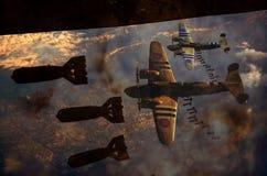 Descenso de la bomba de la Segunda Guerra Mundial stock de ilustración