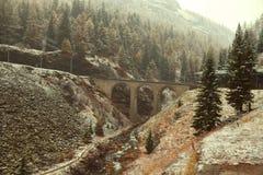 Descenso de la nieve en bosque del pino con el viaducto a través del río Imagenes de archivo