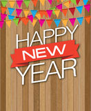 Descenso de madera de Feliz Año Nuevo Imágenes de archivo libres de regalías