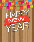 Descenso de madera de Feliz Año Nuevo Fotografía de archivo libre de regalías