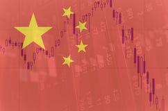 Descenso de mercados financieros de China Imagen de archivo libre de regalías