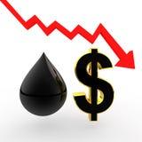 descenso del aceite 3d y muestra de dólar con la flecha de disminución Foto de archivo