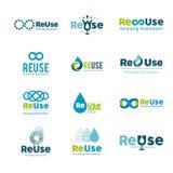 Descenso del agua - ejemplo del concepto de la plantilla del logotipo del negocio del vector Muestra creativa del agua azul Eleme stock de ilustración